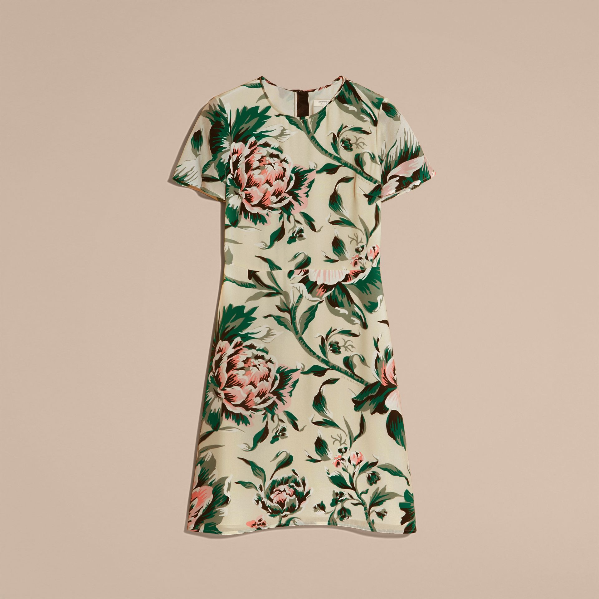 Emerald green Peony Rose Print Silk A-line Dress - gallery image 4