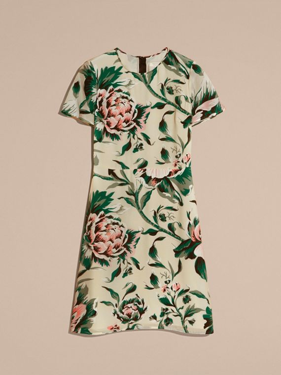 Emerald green Peony Rose Print Silk A-line Dress - cell image 3