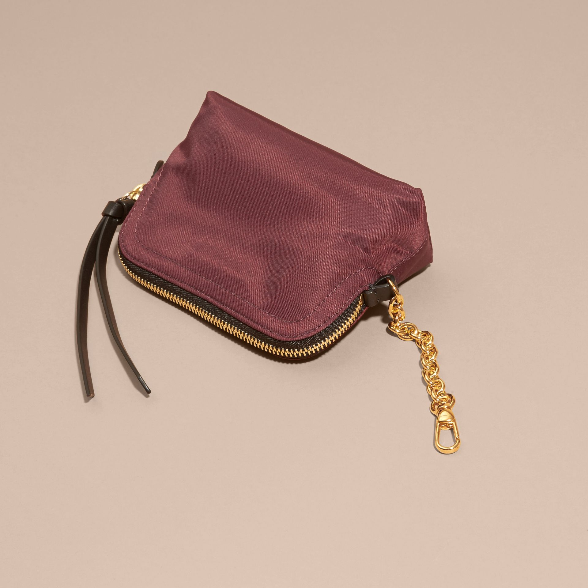 Small Zip-top Technical Nylon Pouch in Burgundy Red - gallery image 4