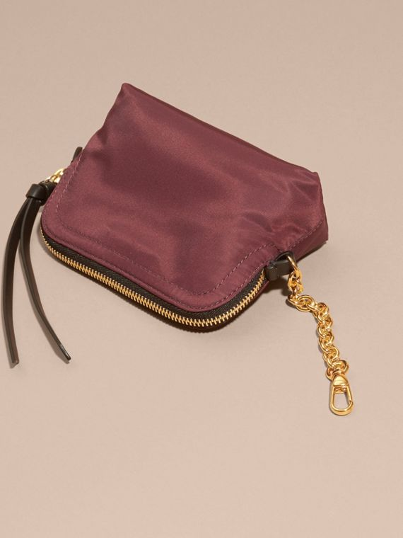 Small Zip-top Technical Nylon Pouch in Burgundy Red - cell image 3