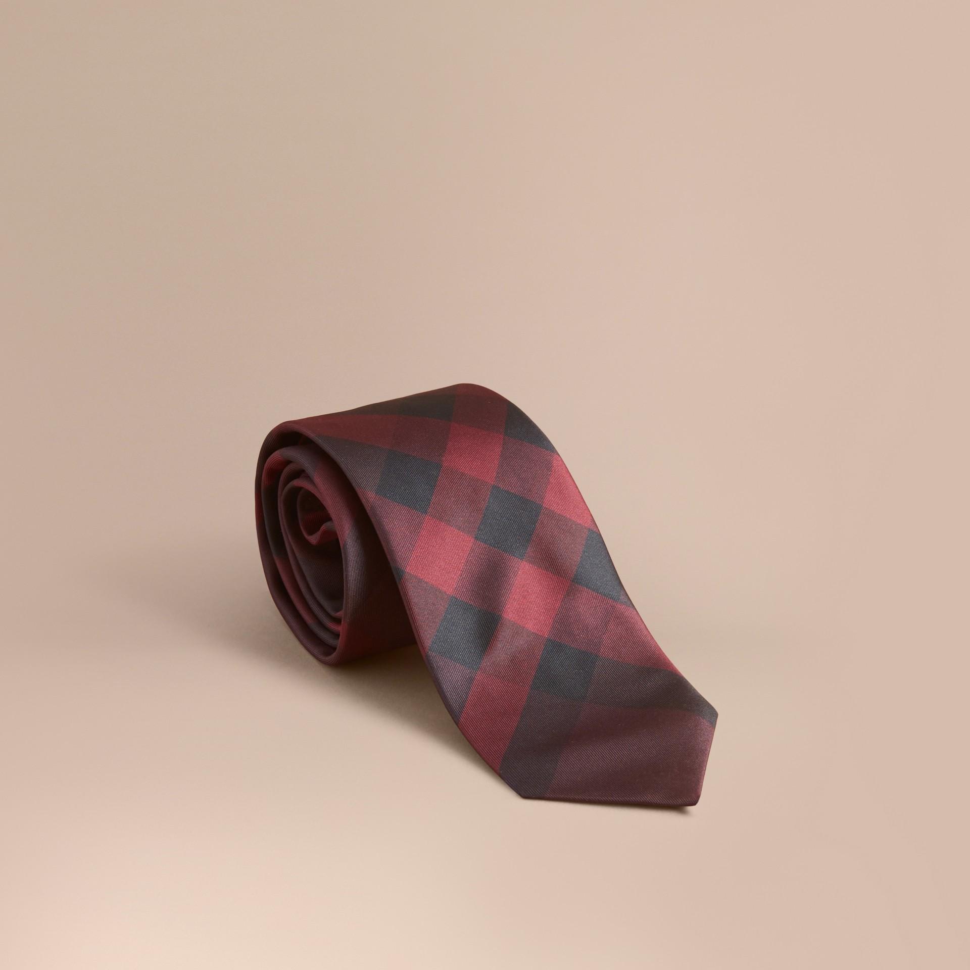 Deep claret Modern Cut Check Silk Tie Deep Claret - gallery image 1