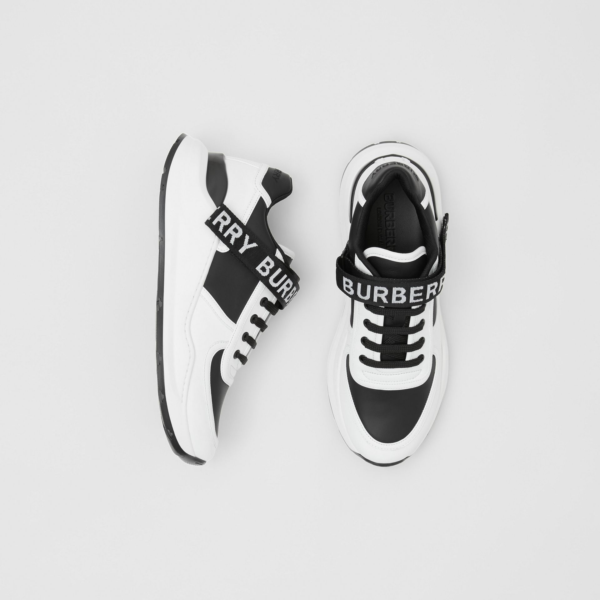 Logo Detail Leather and Nylon Sneakers in Black/optic White - Women | Burberry Singapore - gallery image 0