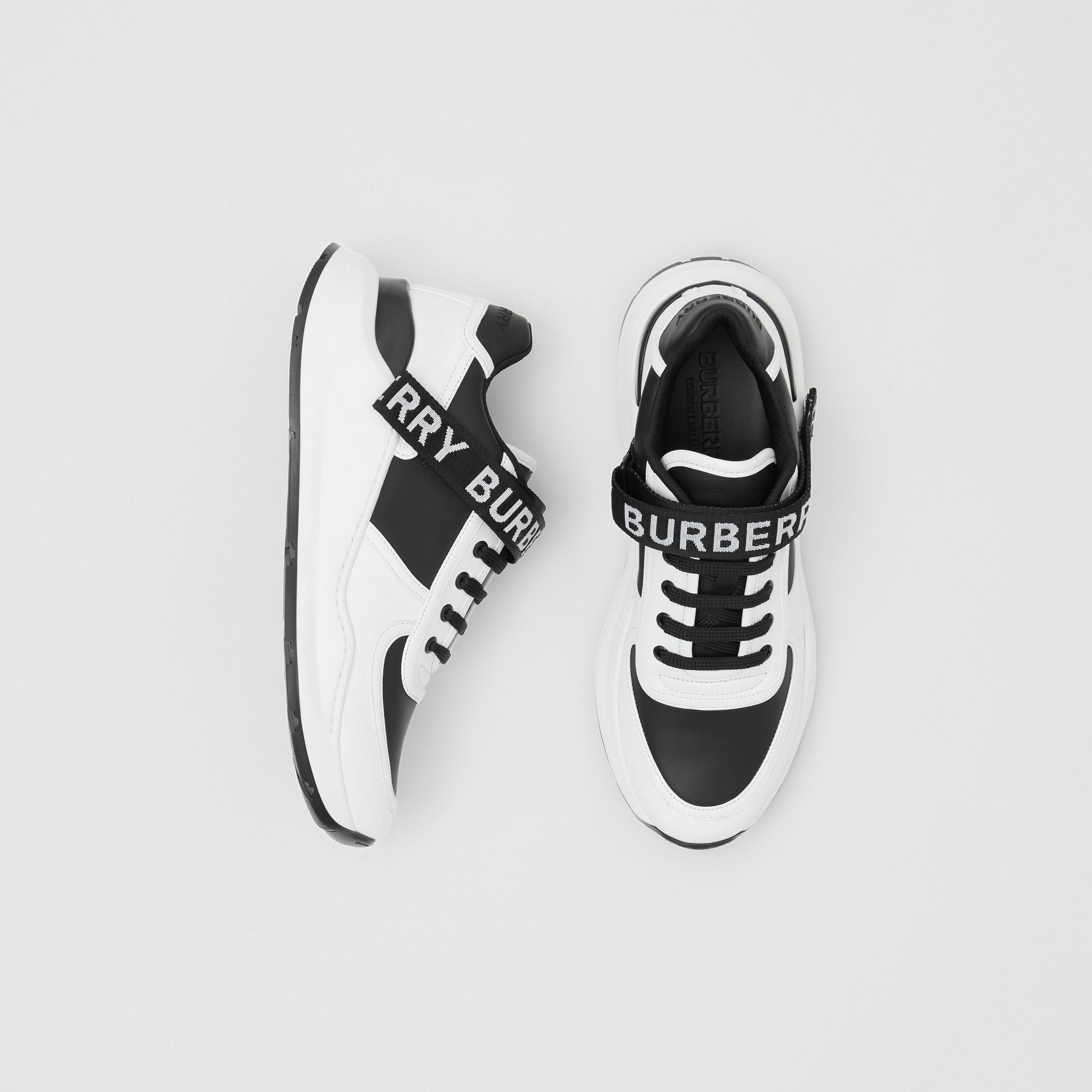 Logo Detail Leather and Nylon Sneakers in Black/optic White - Women | Burberry - 1