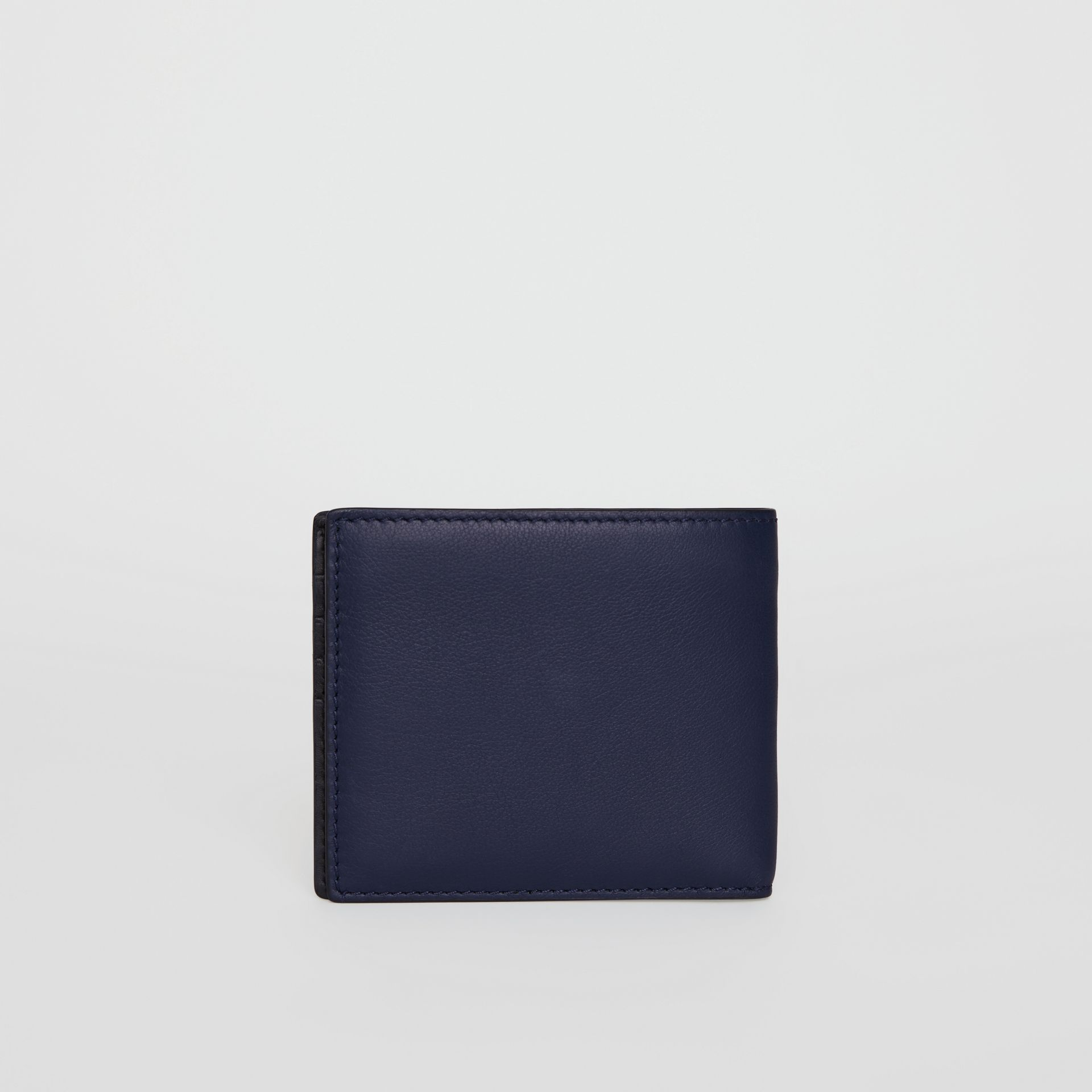 Embossed Crest Leather International Bifold Wallet in Regency Blue - Men | Burberry United Kingdom - gallery image 4