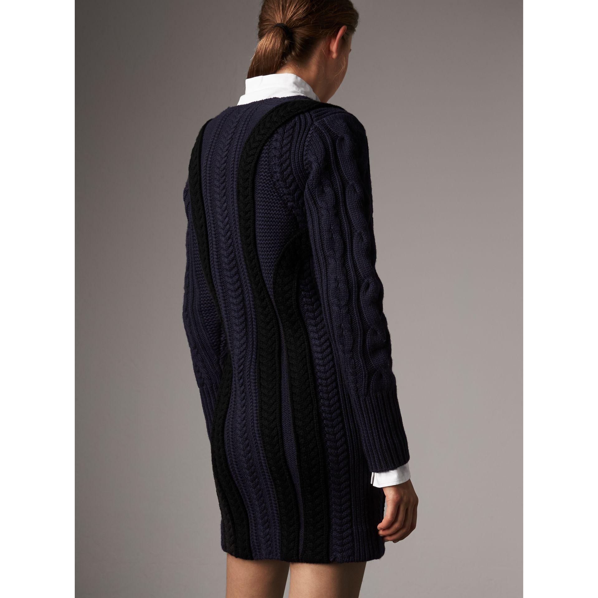 Cable Knit Wool Cashmere Sweater Dress in Navy - Women | Burberry - gallery image 3