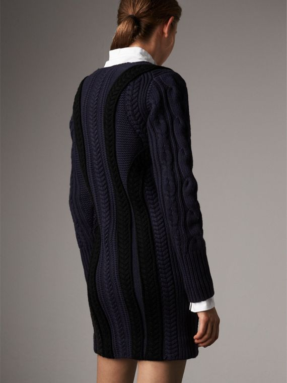 Cable Knit Wool Cashmere Sweater Dress in Navy - Women | Burberry - cell image 2