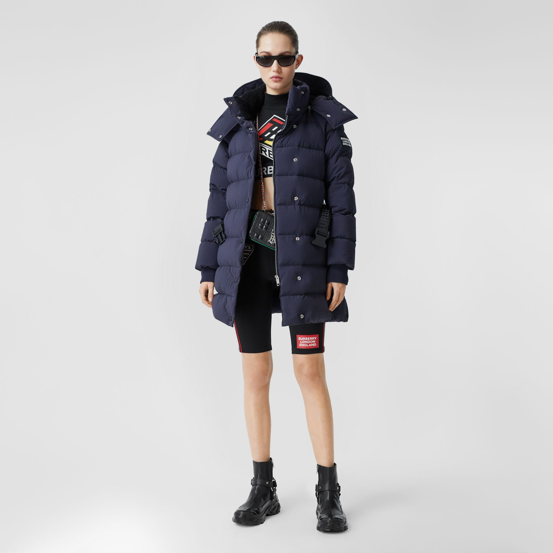 Detachable Hood Belted Puffer Coat in Navy - Women | Burberry Hong Kong S.A.R - gallery image 0