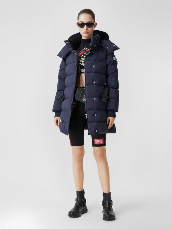 Detachable Hood Belted Puffer Coat in Navy