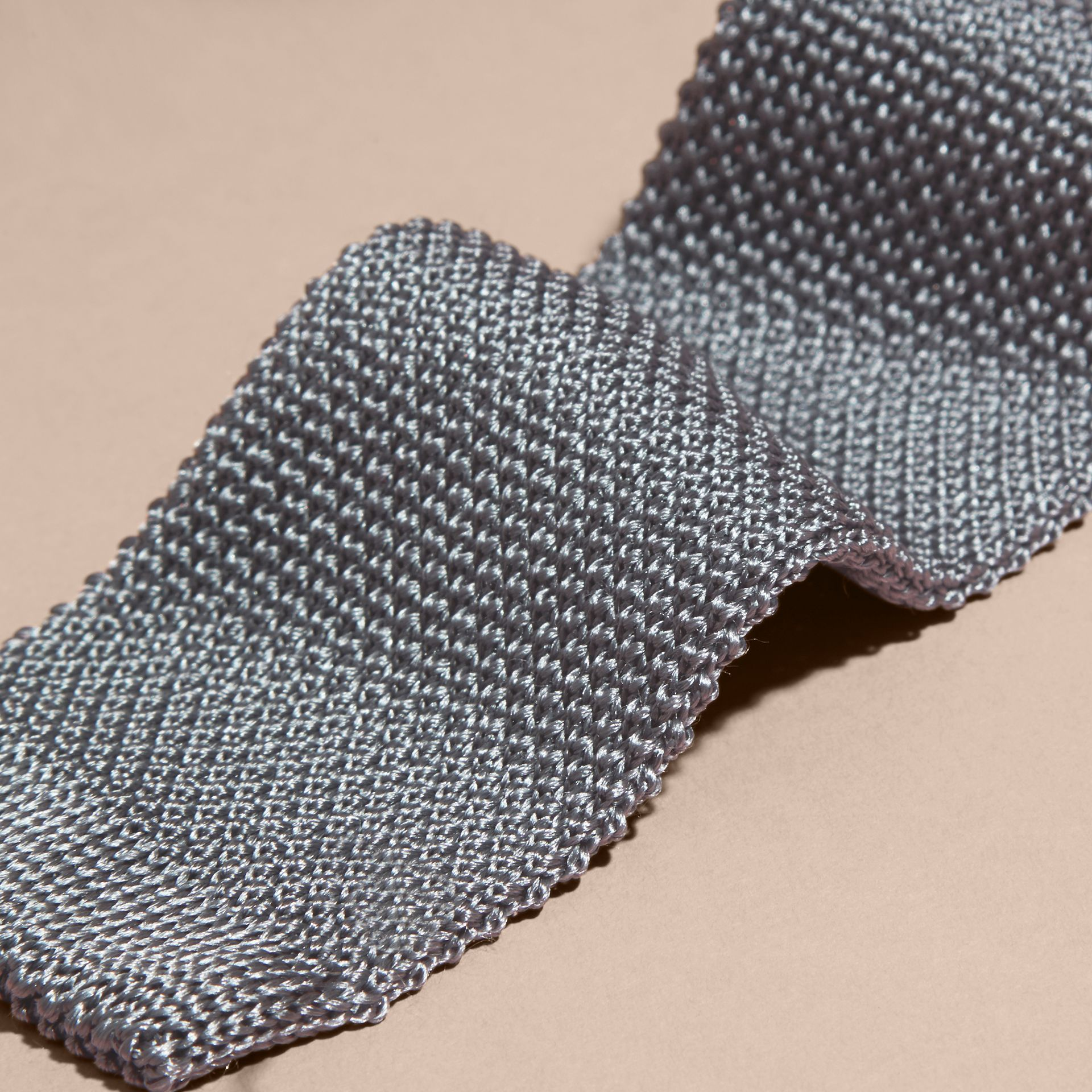 Mid grey Slim Cut Knitted Silk Tie Mid Grey - gallery image 2