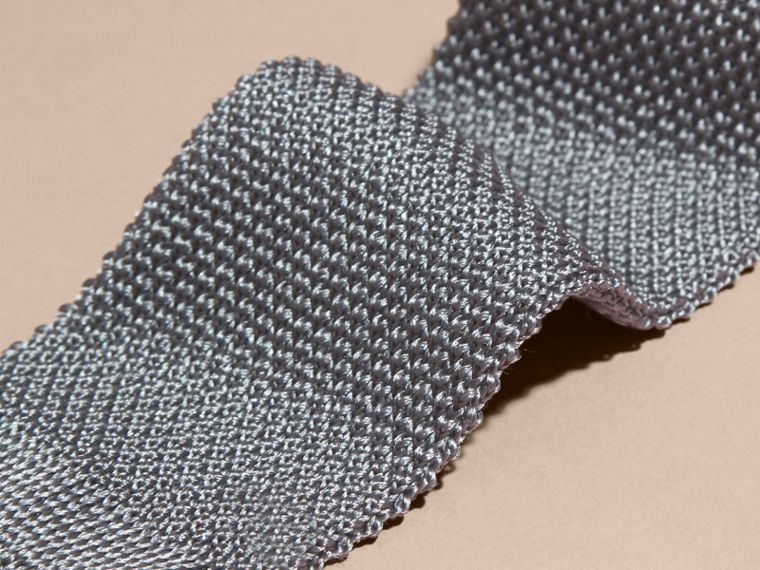 Mid grey Slim Cut Knitted Silk Tie Mid Grey - cell image 1