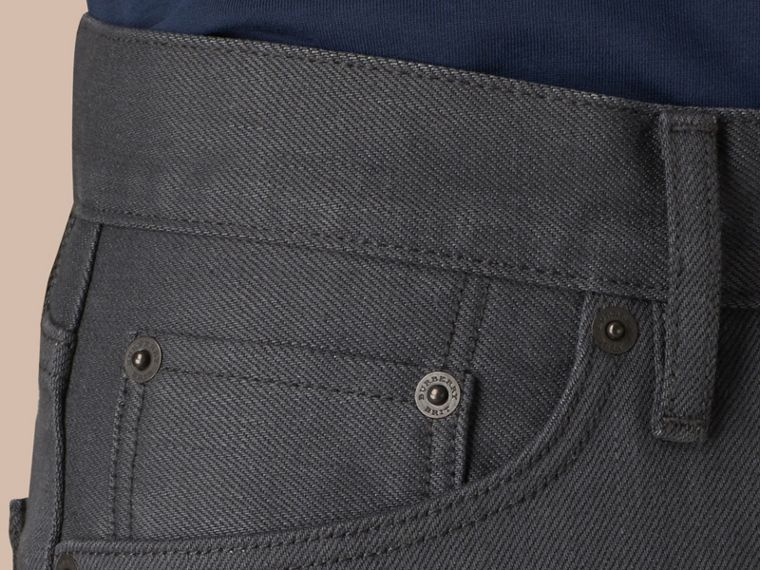 Storm grey Straight Fit Japanese Selvedge Denim Jeans - cell image 4