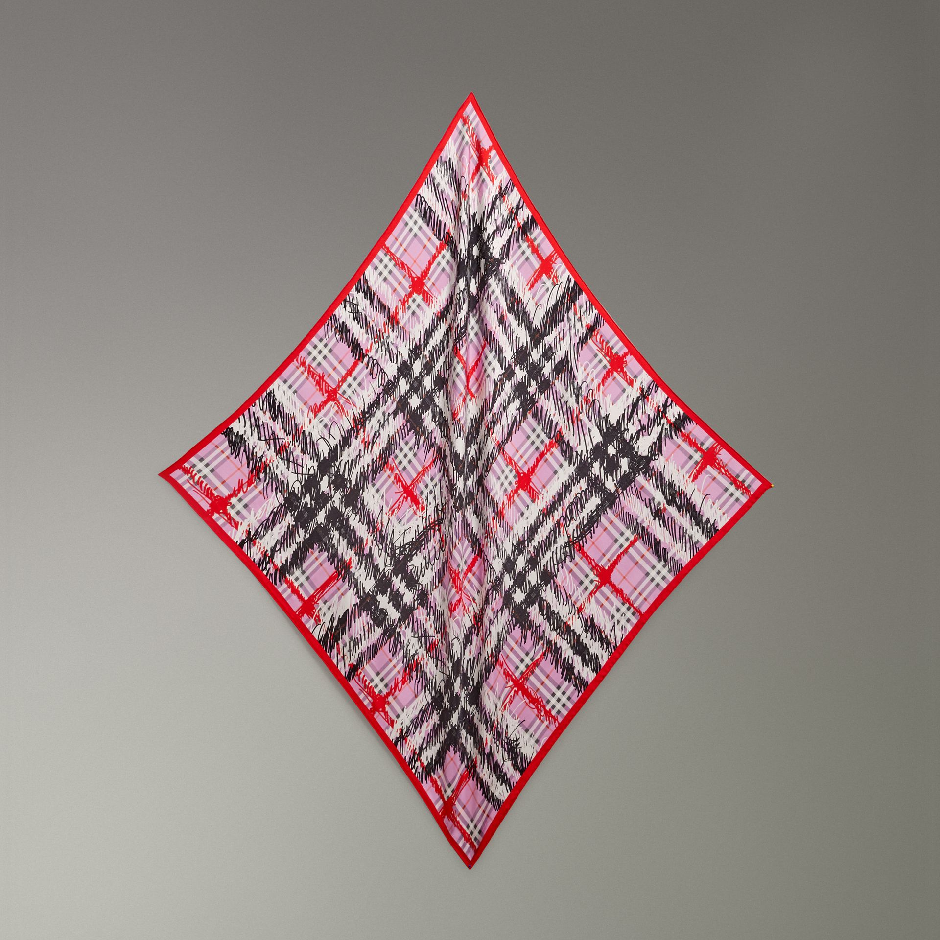 Scribble Check Silk Square Scarf in Fuchsia Pink - Women | Burberry - gallery image 0