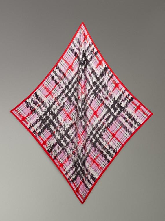 Scribble Check Silk Square Scarf in Fuchsia Pink