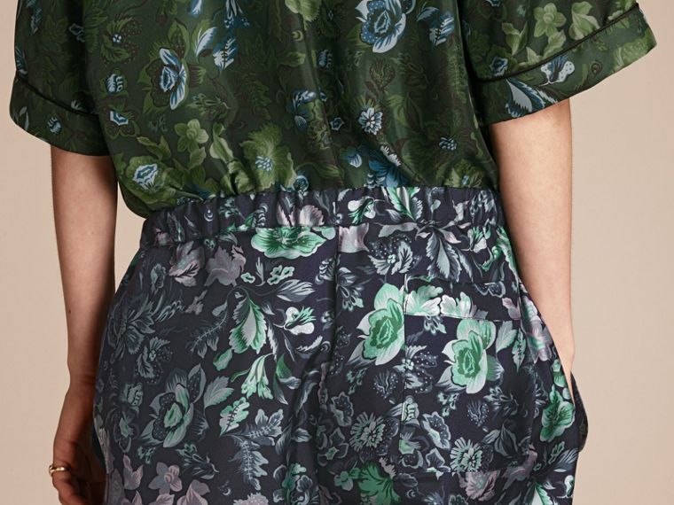 Navy Floral Print Silk Twill Pyjama-style Trousers - cell image 4