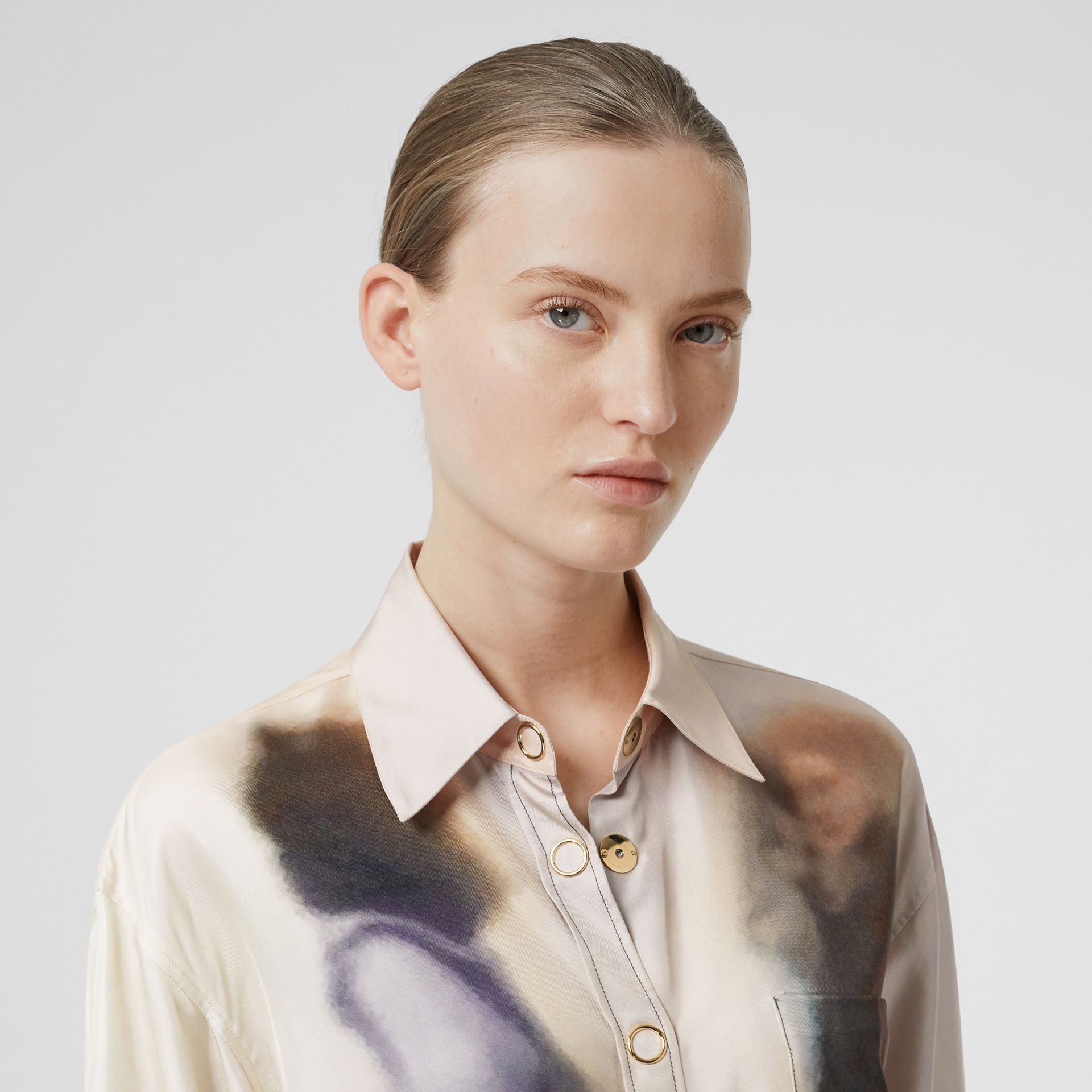 Victorian Photograph Print Silk Shirt in Purple - Women | Burberry United Kingdom - gallery image 1