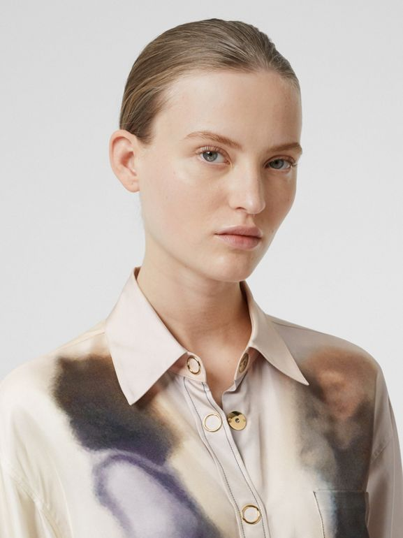 Victorian Photograph Print Silk Shirt in Purple - Women | Burberry United Kingdom - cell image 1