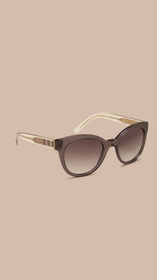 Check Detail Oval Frame Sunglasses