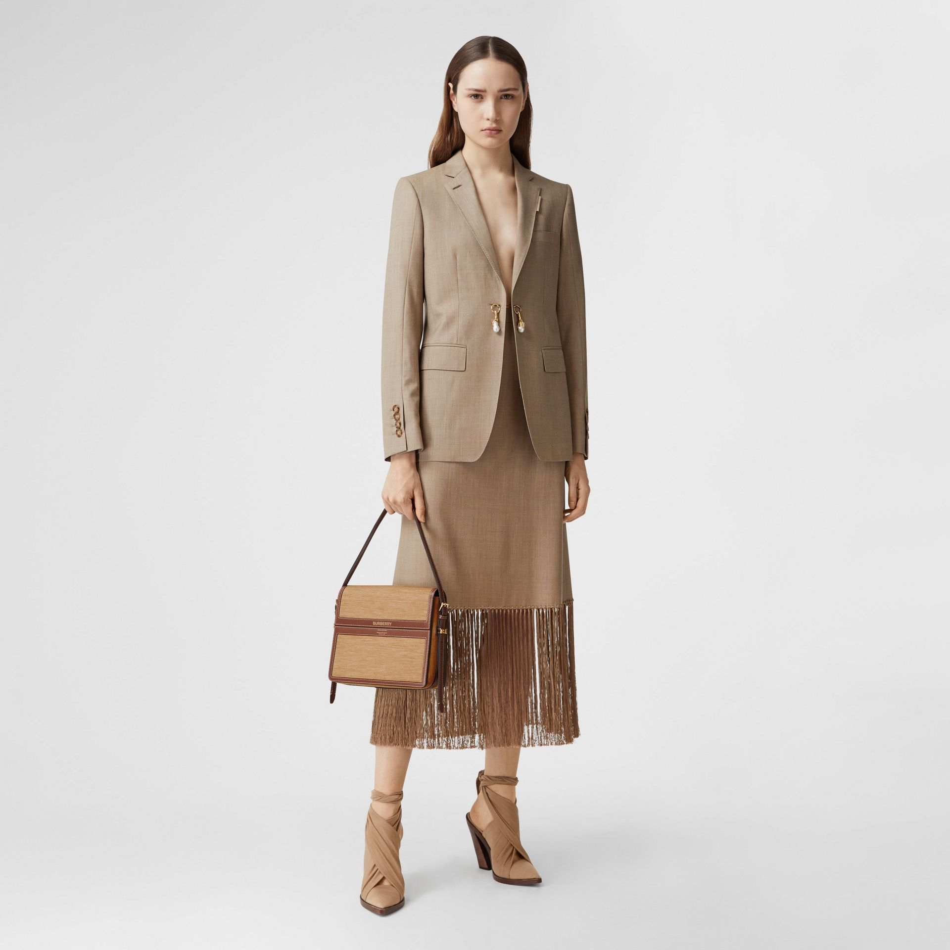 Large Jersey and Leather Grace Bag in Pecan Melange - Women | Burberry Canada - gallery image 5