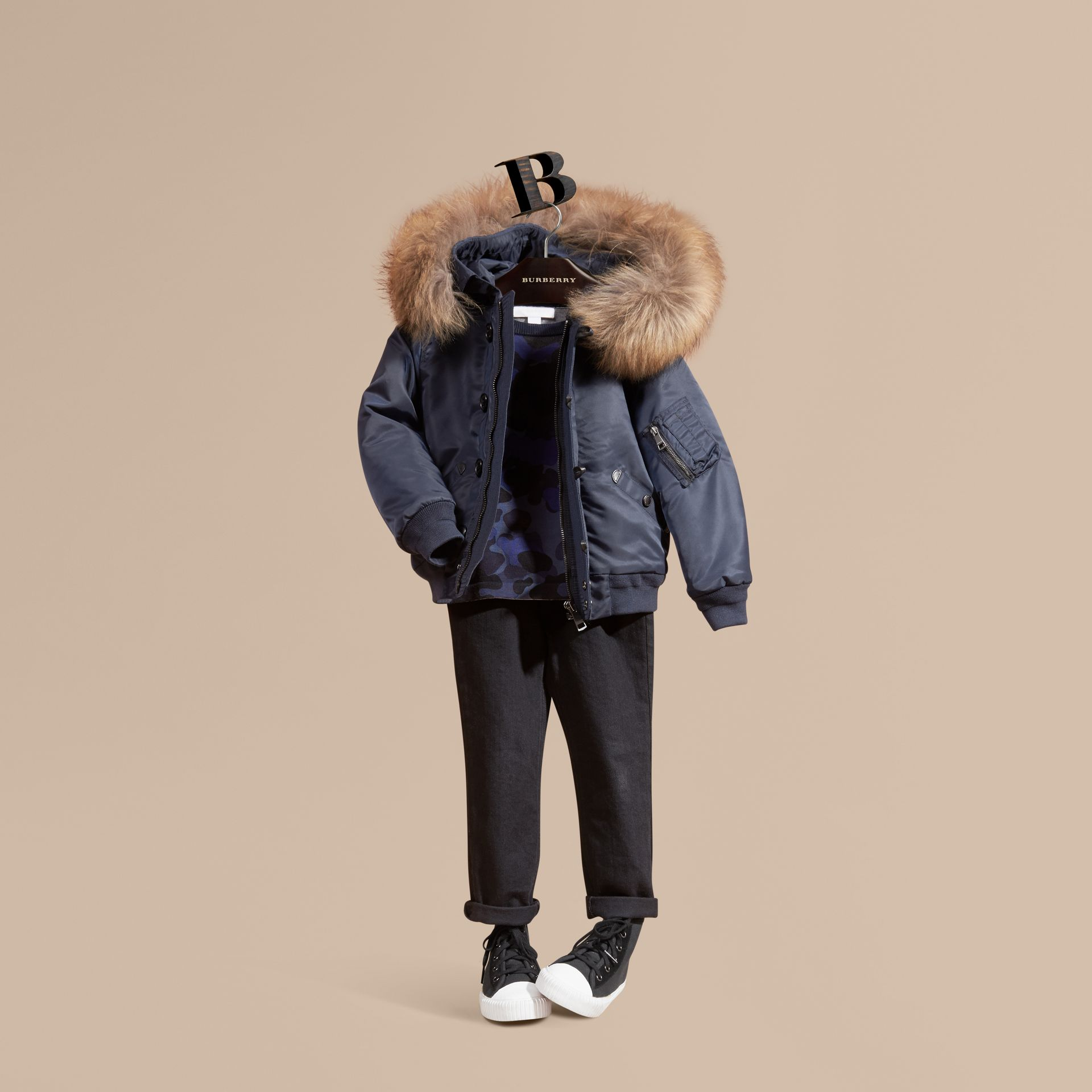 Navy Technical Twill Bomber Jacket with Fox Fur Hood - gallery image 1
