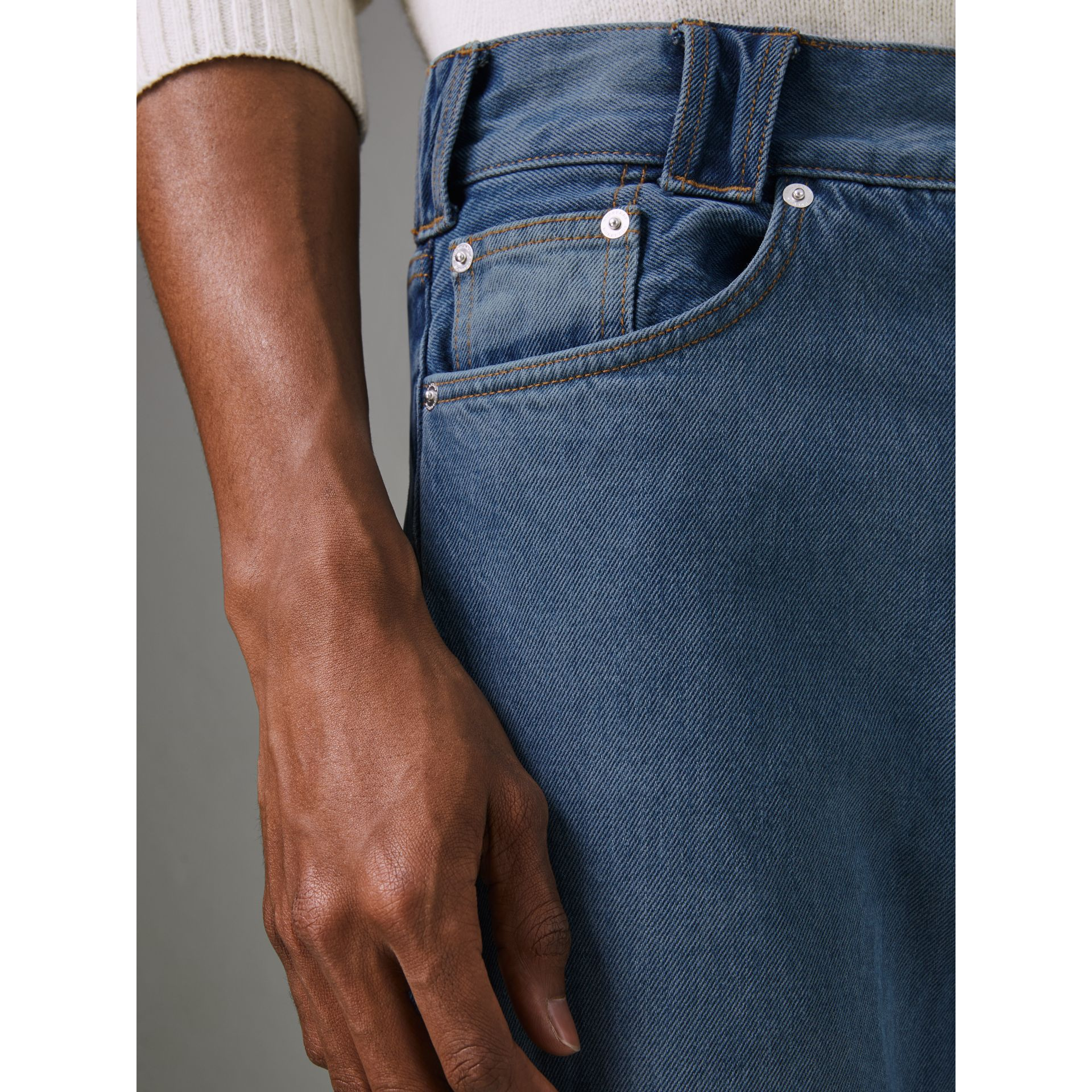 Straight Fit Two-tone Jeans in Indigo - Men | Burberry - gallery image 1