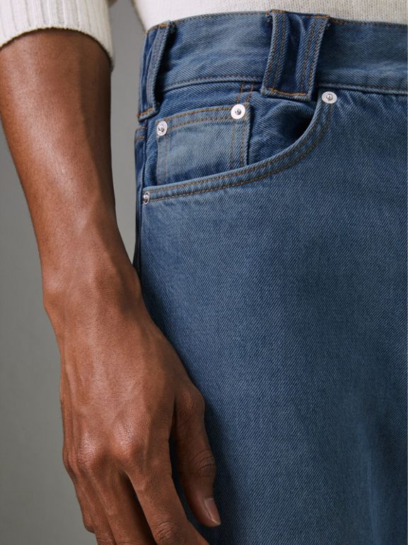 Straight Fit Two-tone Jeans in Indigo - Men | Burberry United Kingdom - cell image 1
