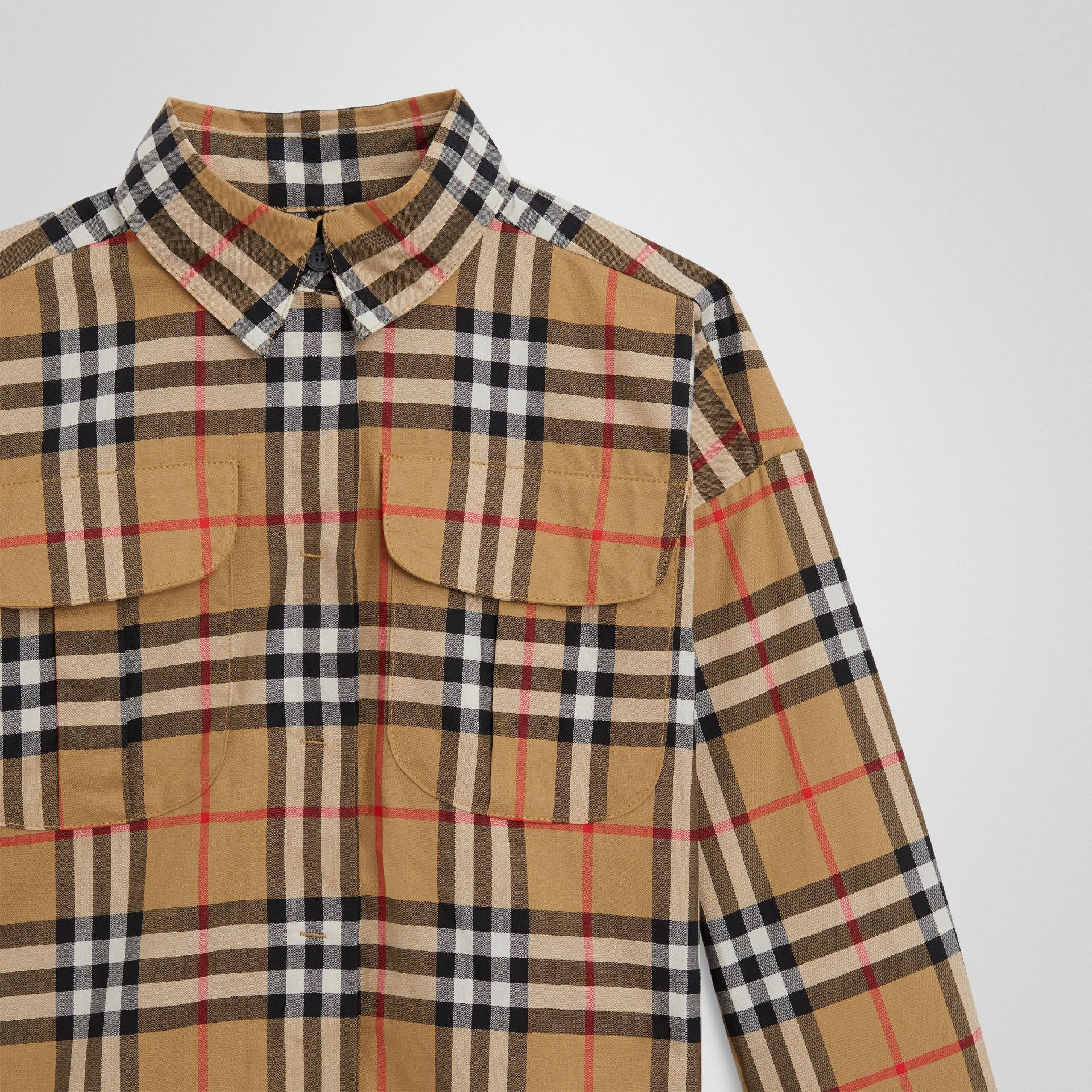 Vintage Check Cotton Shirt in Antique Yellow | Burberry Australia - gallery image 4