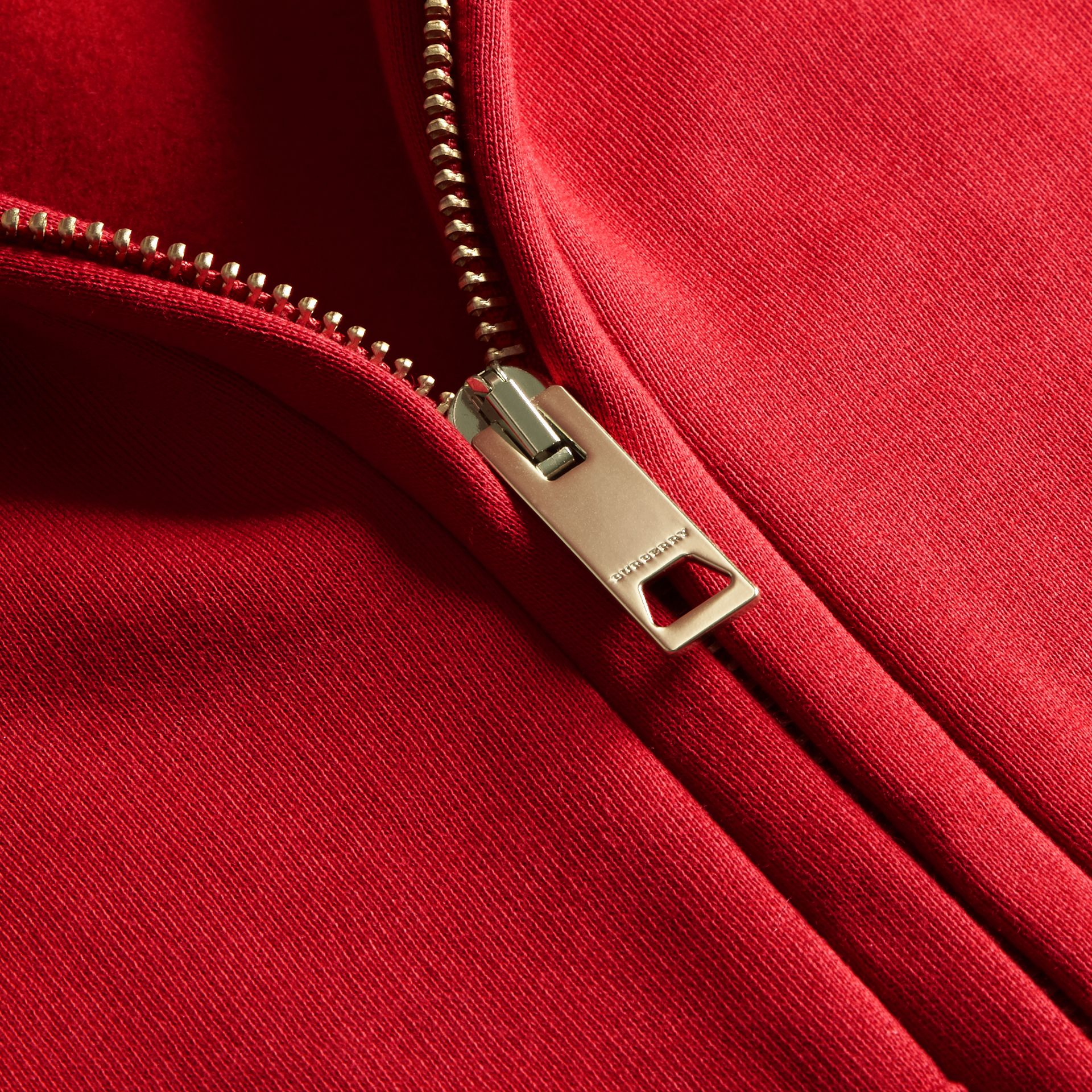 Hooded Zip-front Cotton Blend  Sweatshirt in Parade Red - Women | Burberry - gallery image 2