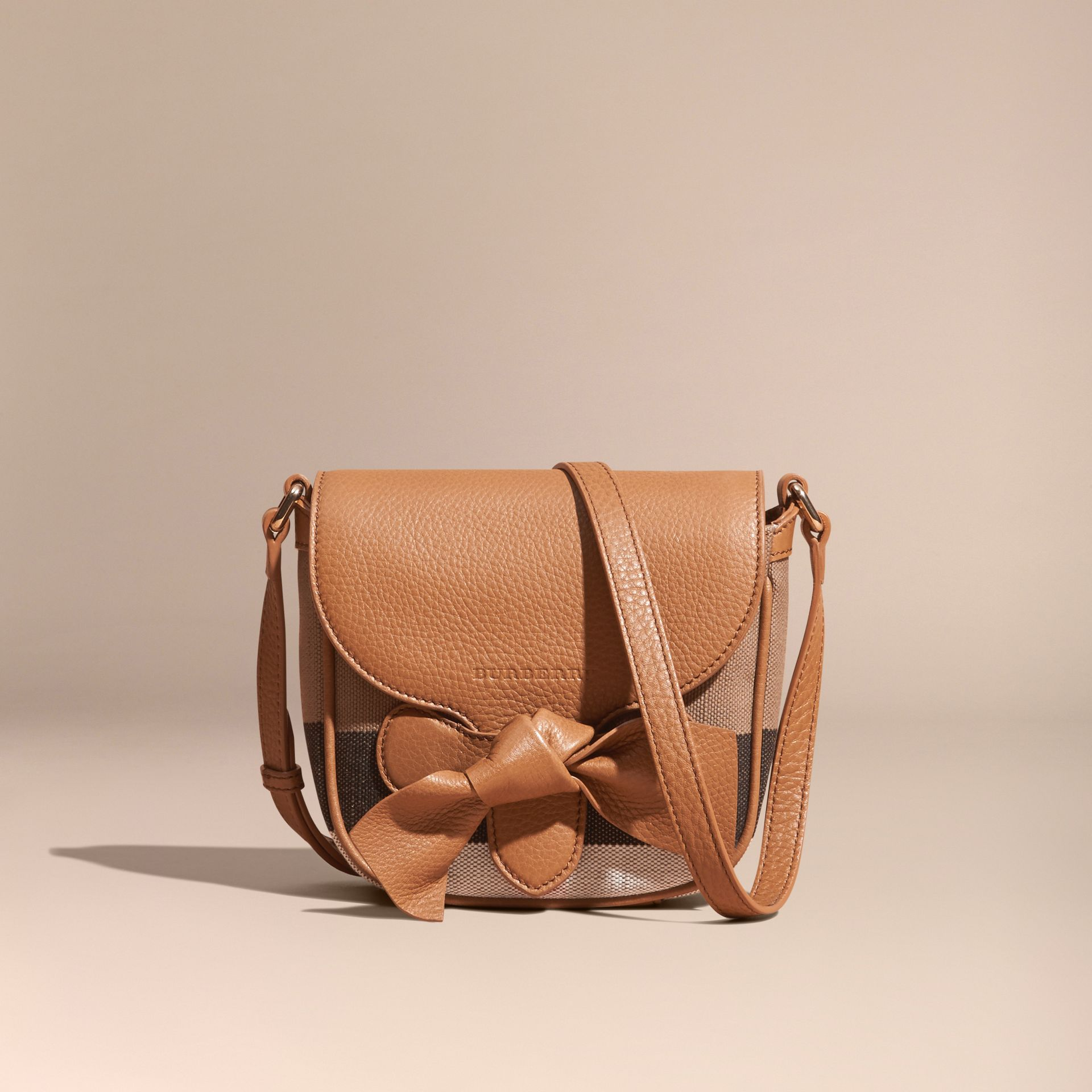 Sand Canvas Check Leather Crossbody Bag - gallery image 7
