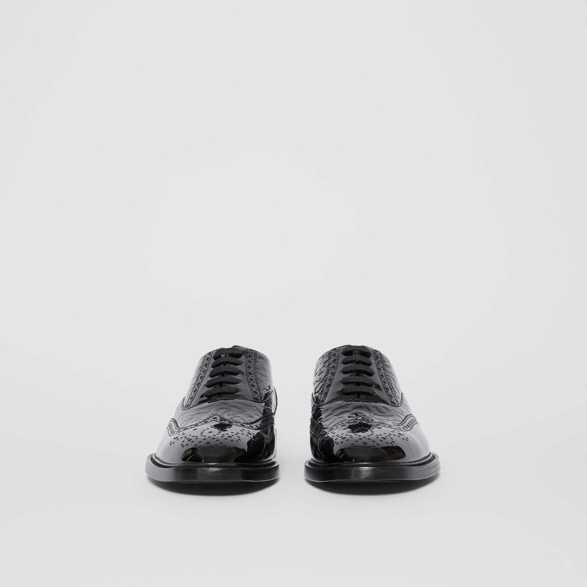 D-ring Detail Monogram Patent Leather Brogues in Black - Men | Burberry - gallery image 3