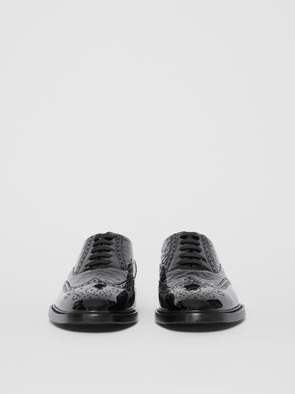 D-ring Detail Monogram Patent Leather Brogues in Black - Men | Burberry - cell image 3