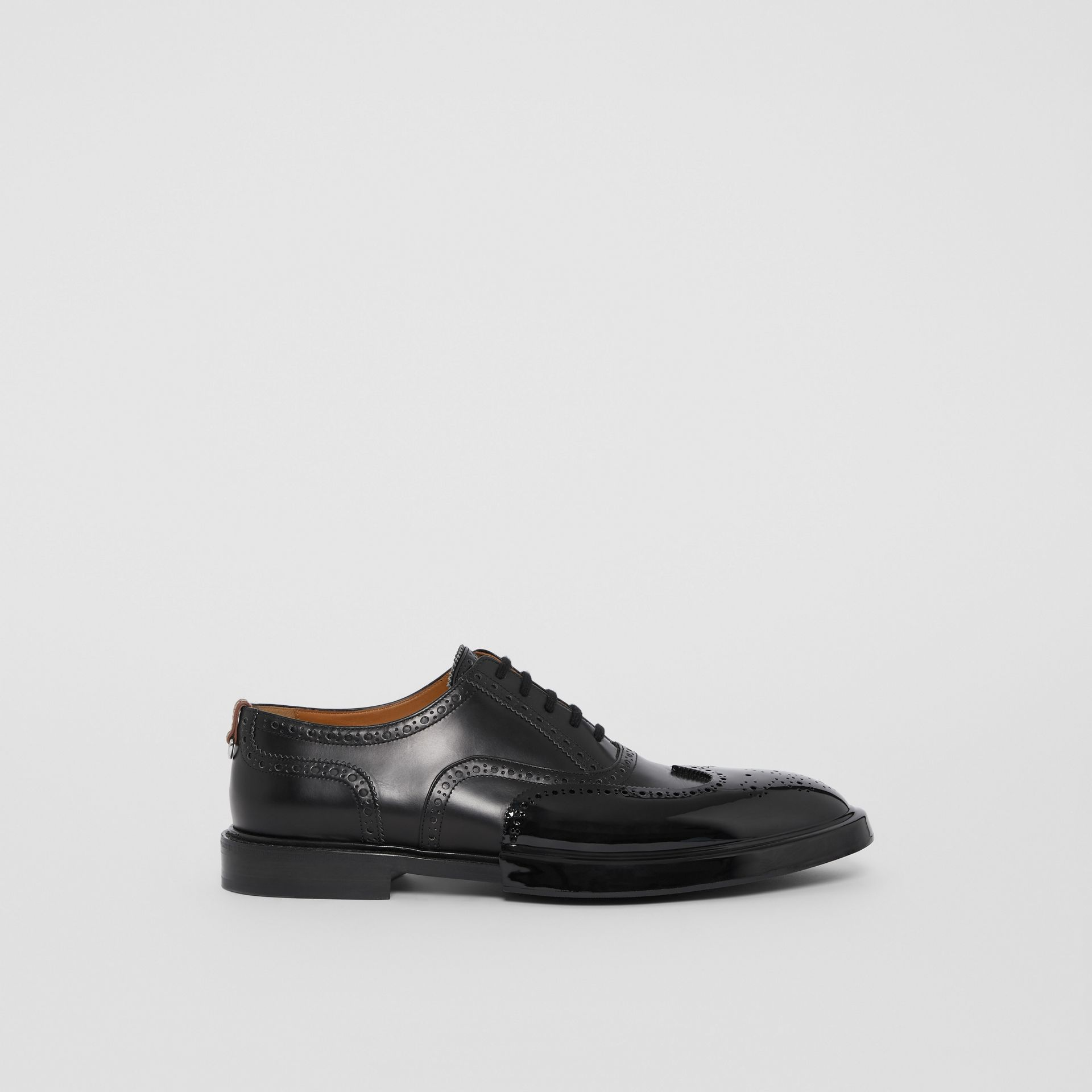 Toe Cap Detail Leather Oxford Brogues in Black - Men | Burberry - gallery image 5