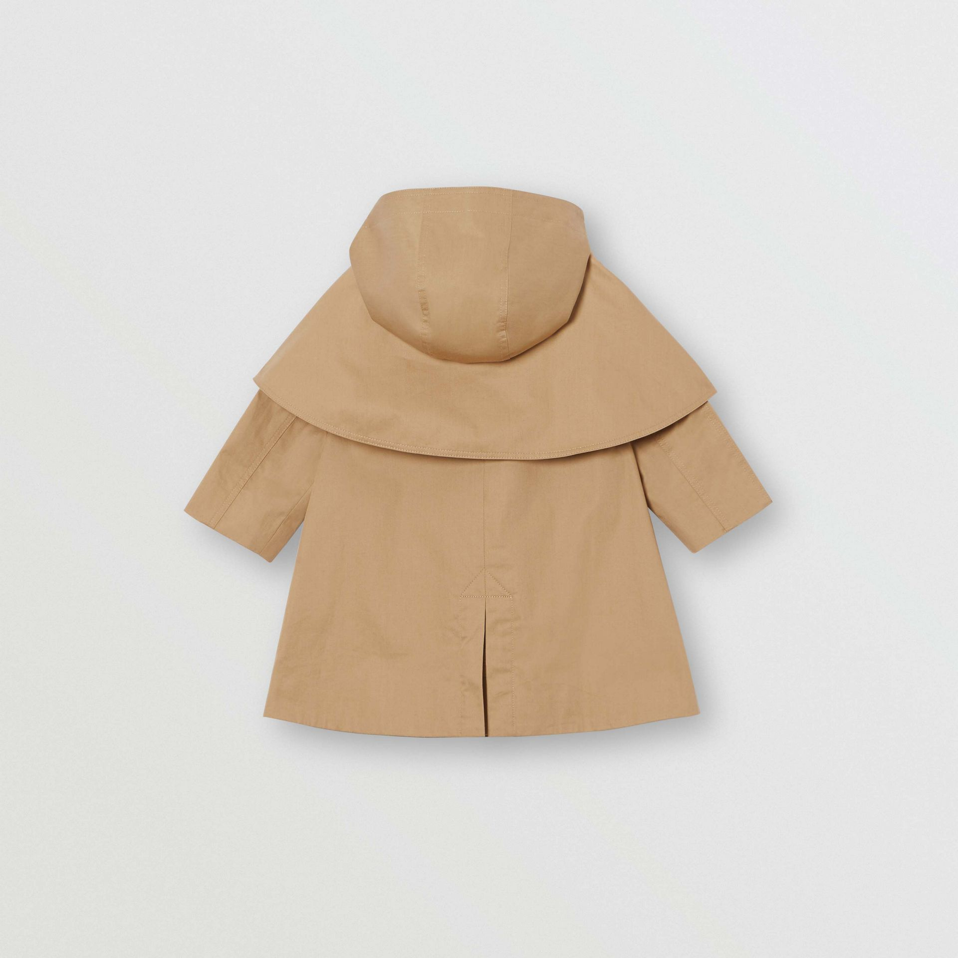 Detachable Hood Showerproof Cotton Swing Coat in Honey - Children | Burberry Singapore - gallery image 3