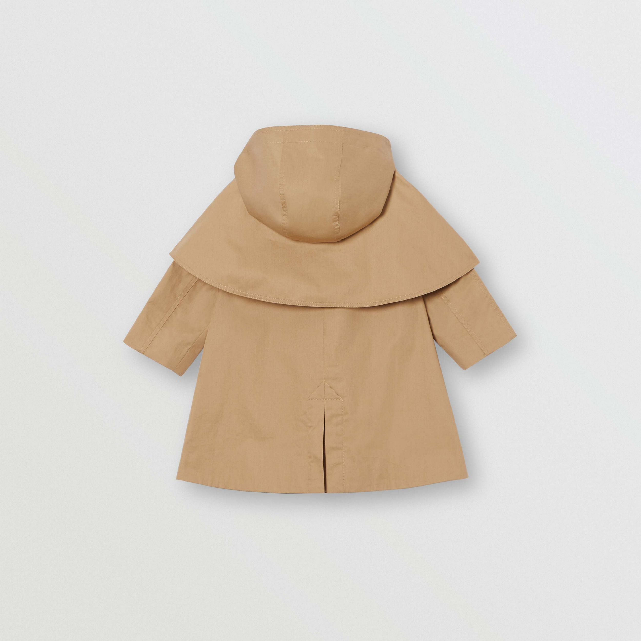 Detachable Hood Water-resistant Cotton Swing Coat in Honey - Children | Burberry - 4