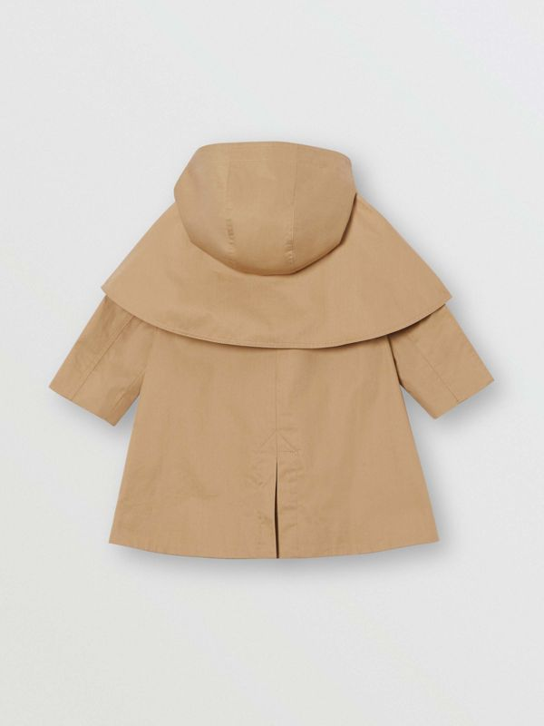 Detachable Hood Showerproof Cotton Swing Coat in Honey - Children | Burberry - cell image 3