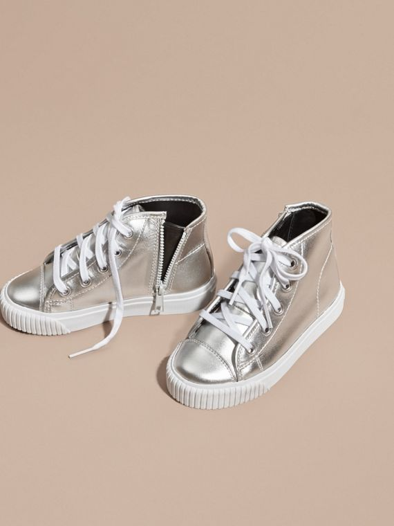 Silver Metallic Leather High-top Trainers - cell image 2