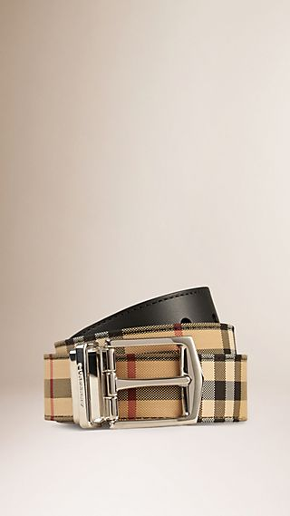 Reversible Horseferry Check and Leather Belt