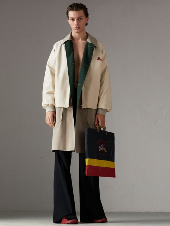 Reissued Waxed Cotton Gabardine Car Coat in Khaki