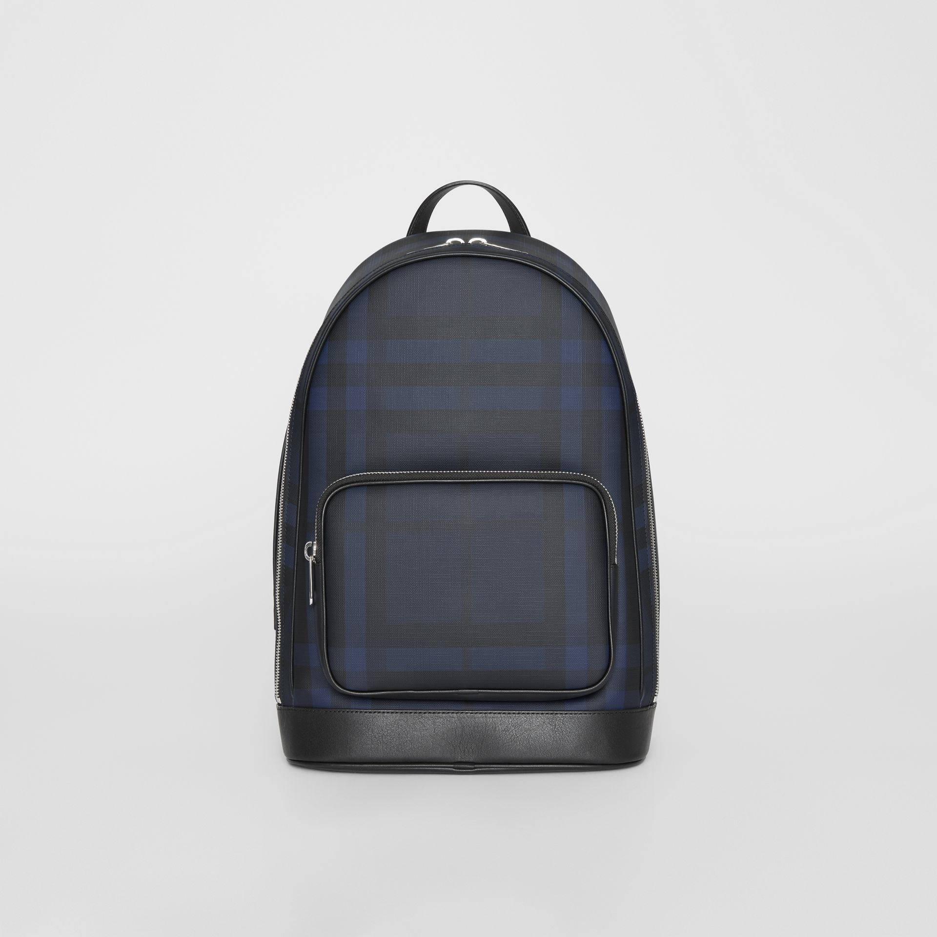 London Check and Leather Backpack in Navy/black - Men | Burberry Hong Kong S.A.R - gallery image 0