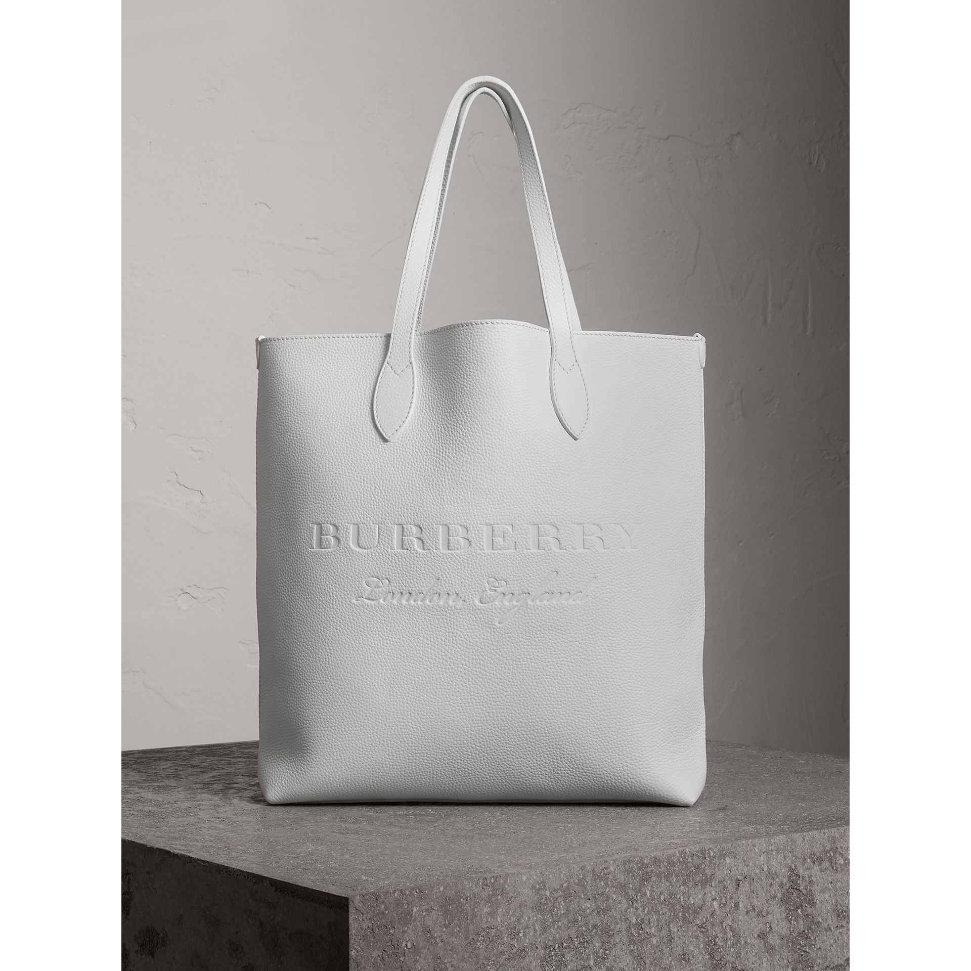 Medium Embossed Leather Tote in Chalk White | Burberry - gallery image 0