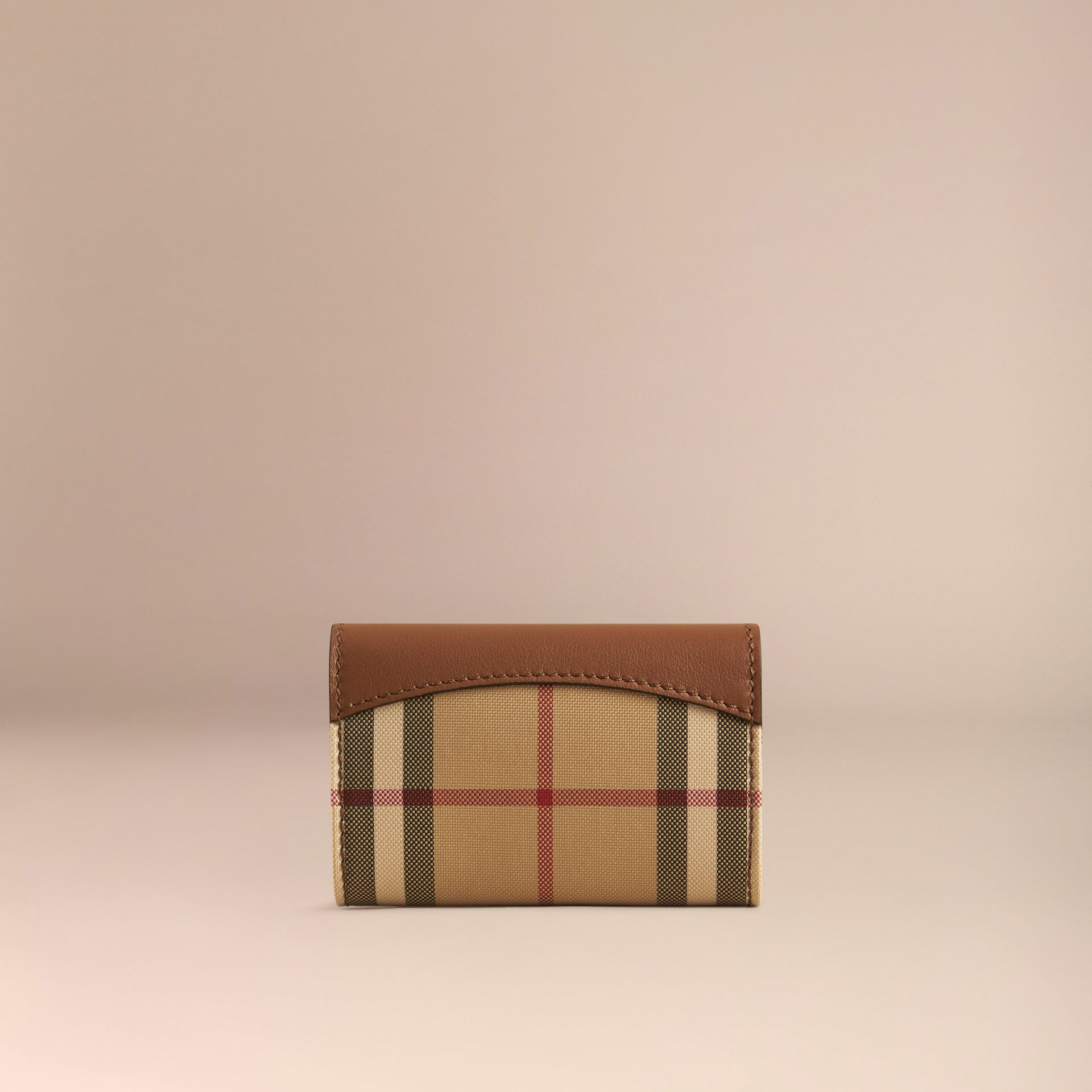Tan Horseferry Check and Leather Card Case Tan - gallery image 3