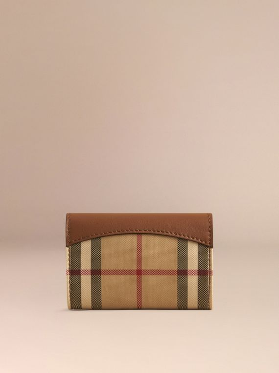 Tan Horseferry Check and Leather Card Case Tan - cell image 2