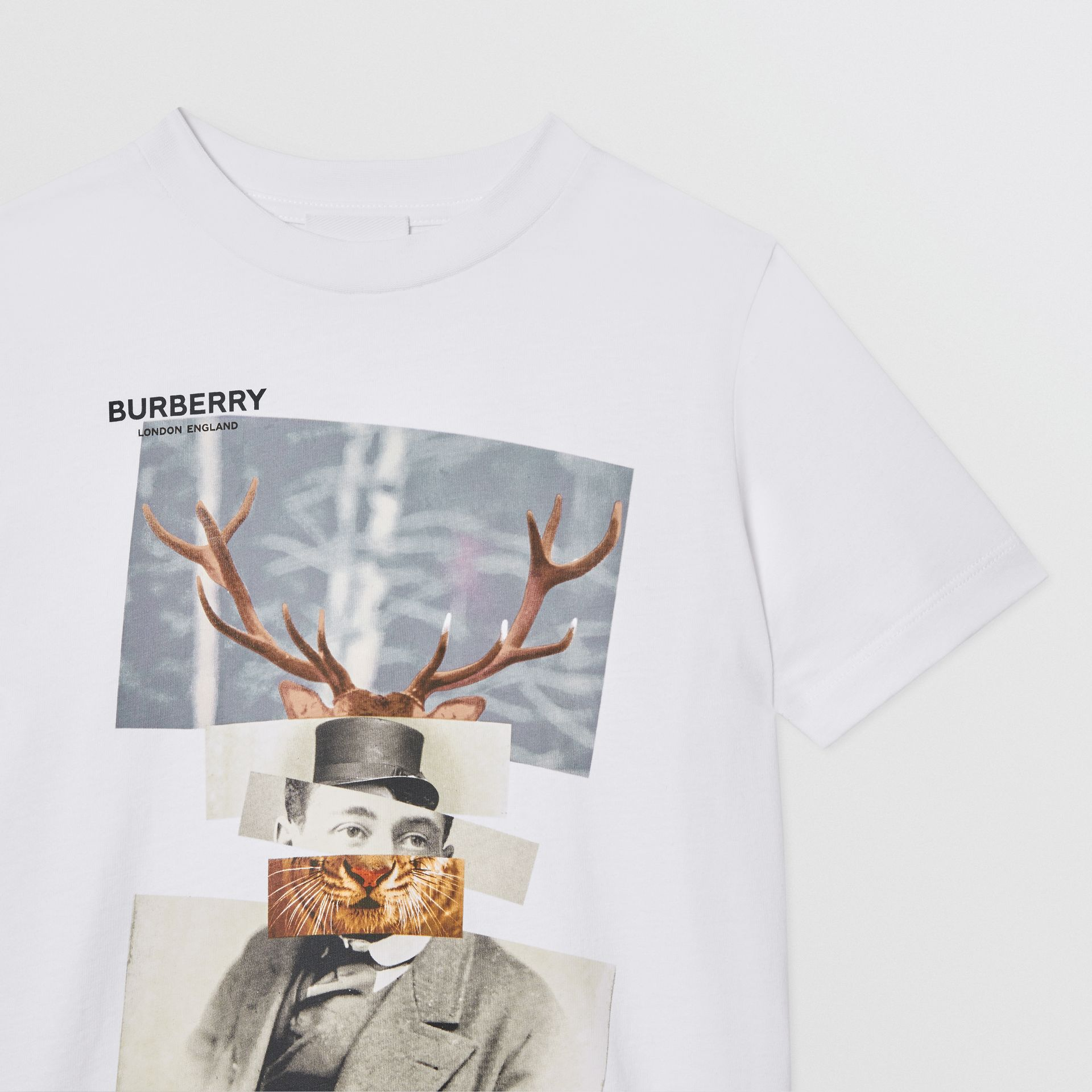 Collage Print Cotton T-shirt in White | Burberry - gallery image 5