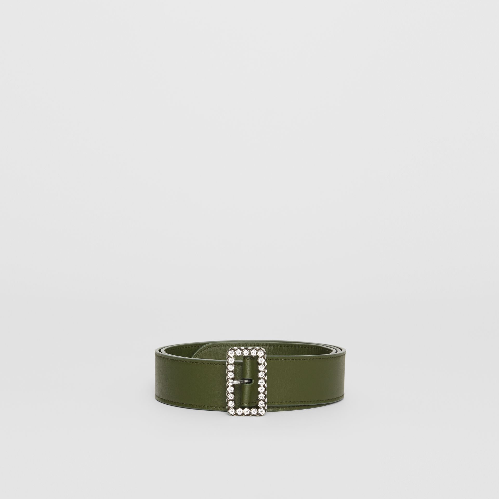Leather Belt with Crystal Buckle in Dark Olive - Women | Burberry - gallery image 3