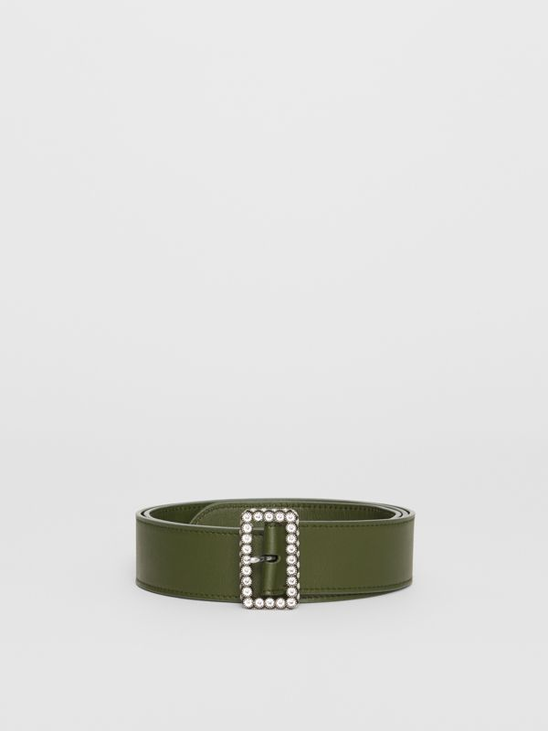 Leather Belt with Crystal Buckle in Dark Olive - Women | Burberry - cell image 3