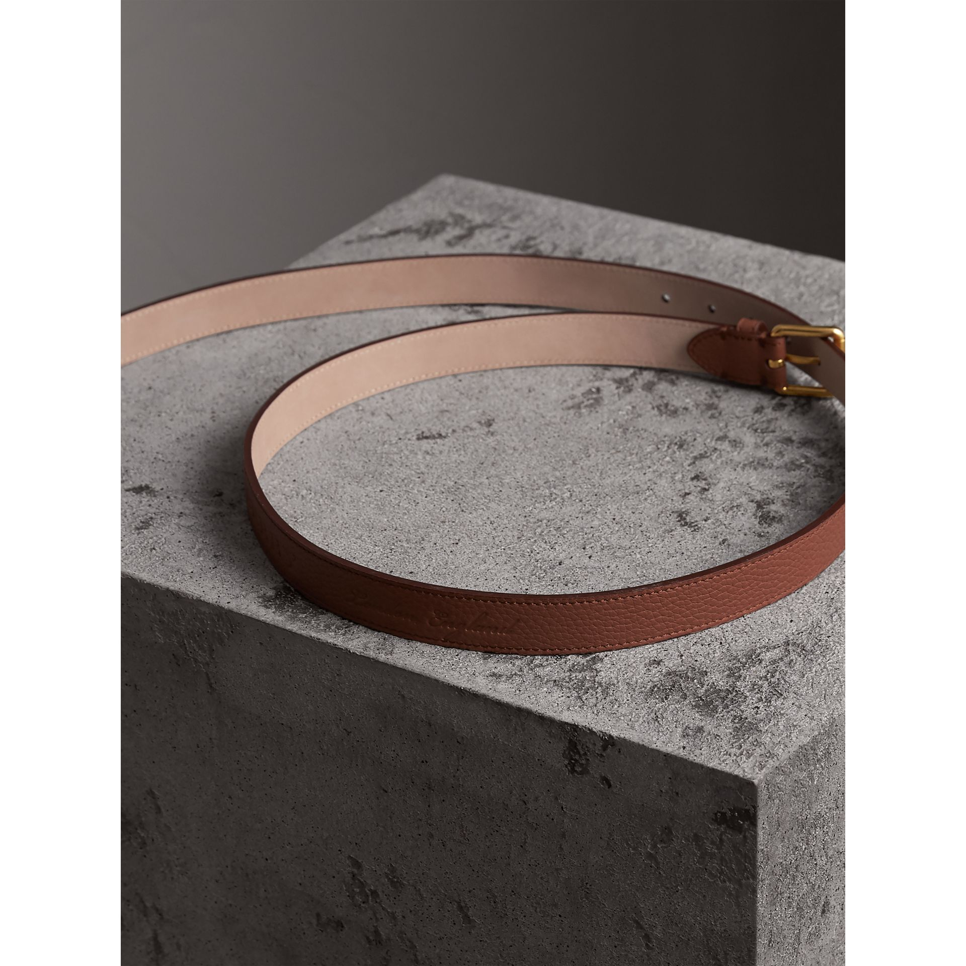 Embossed Leather Belt in Chestnut Brown - Women | Burberry United States - gallery image 3