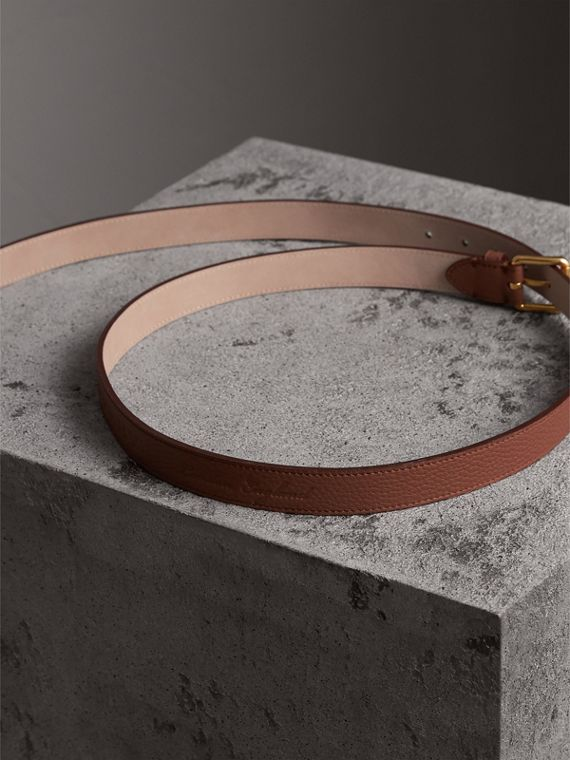 Embossed Leather Belt in Chestnut Brown - Women | Burberry - cell image 3