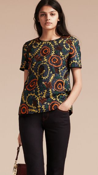 Floral Jacquard Structured Top