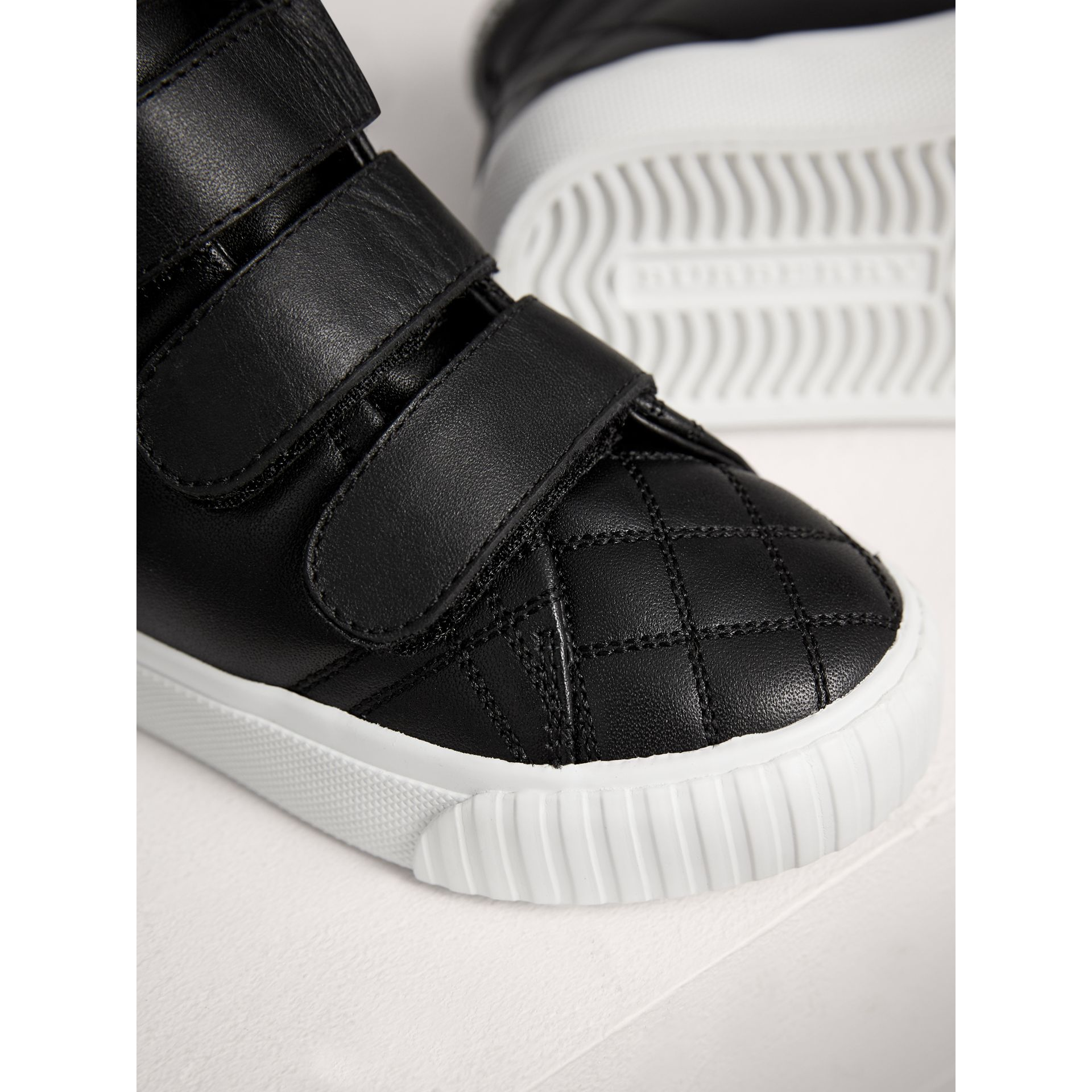 Check-quilted Leather High-top Sneakers in Black | Burberry - gallery image 1