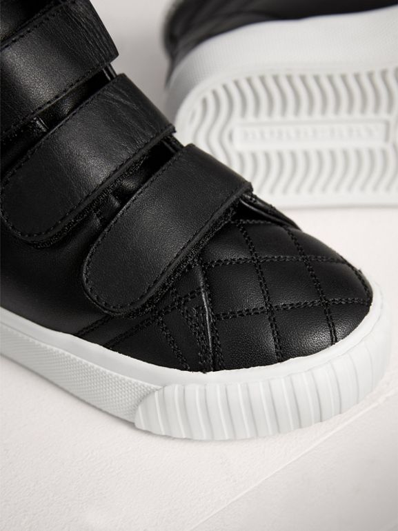Check-quilted Leather High-top Sneakers in Black - Children | Burberry United Kingdom - cell image 1