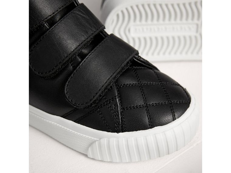 Check-quilted Leather High-top Sneakers in Black | Burberry - cell image 1